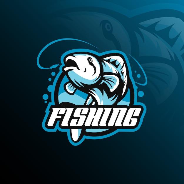 Vettore di progettazione di logo della mascotte del pesce con l'illustrazione moderna Vettore Premium