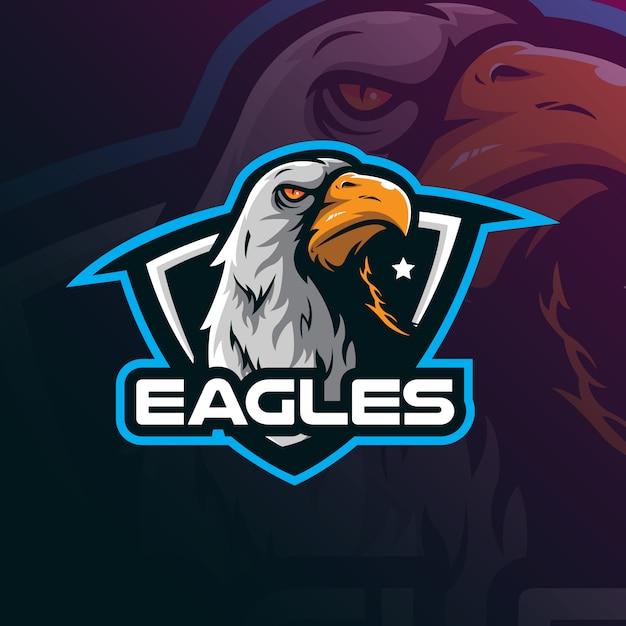 Vettore di progettazione di logo della mascotte dell'aquila con stile moderno di concetto dell'illustrazione per stampa del distintivo, dell'emblema e della maglietta. Vettore Premium