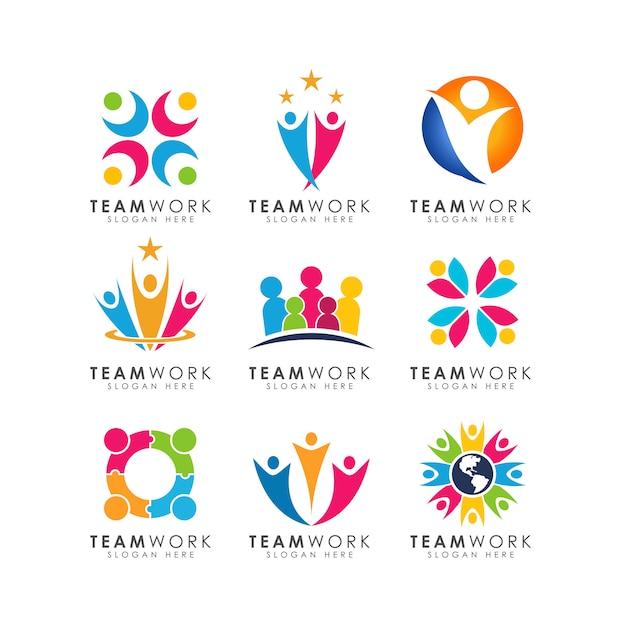 Vettore di progettazione di logo di lavoro di squadra Vettore Premium