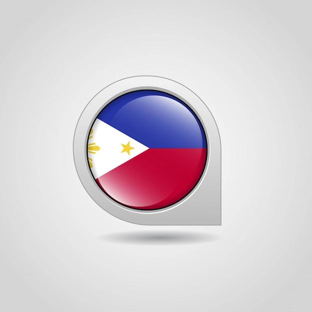 Vettore di progettazione di navigazione della mappa della bandiera delle filippine Vettore gratuito