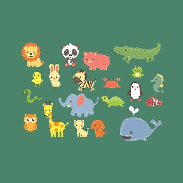 Vettore di raccolta carino zoo degli animali Vettore Premium