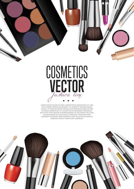 Vettore di realismo dell'assortimento dei prodotti cosmetici Vettore Premium