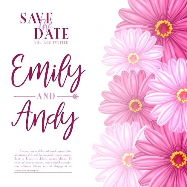 Vettore di riserva dell'invito di nozze con i fiori dell'ibisco Vettore Premium