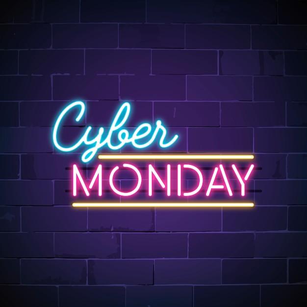 Vettore di segno al neon cyber lunedì Vettore gratuito