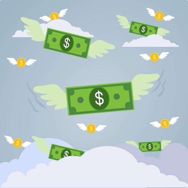 Vettore di soldi che volano con le ali nel cielo blu. Vettore Premium