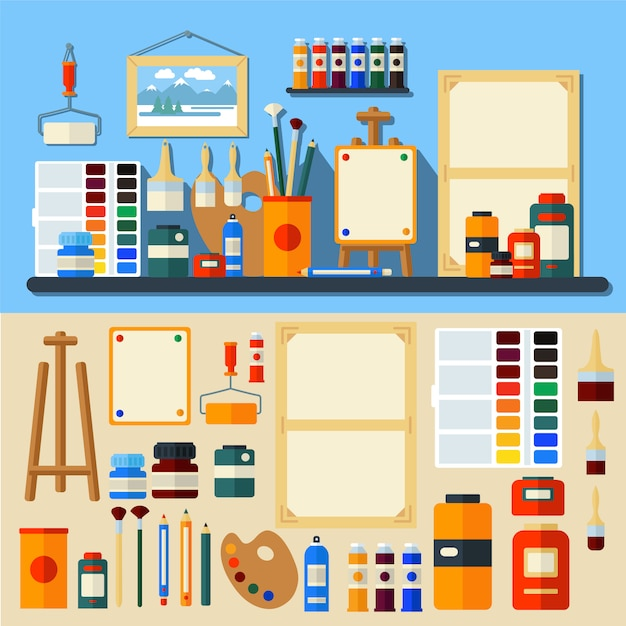 Vettore di stile piano di creatività e di pittura degli strumenti di art studio Vettore Premium