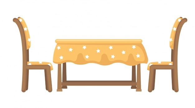 Vettore di tavolo e sedie Vettore Premium