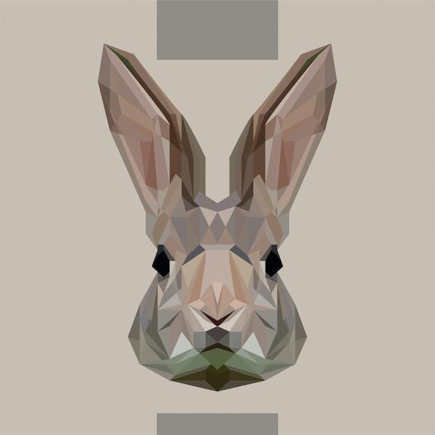 Vettore di testa di coniglio poligonale basso Vettore Premium