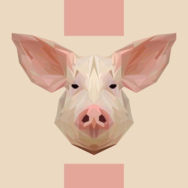 Vettore di testa di maiale poligonale basso Vettore Premium