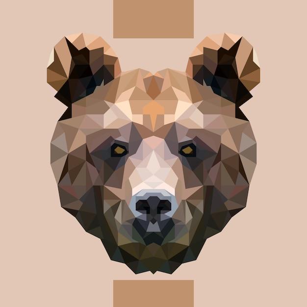 Vettore di testa di orso poligonale basso Vettore Premium