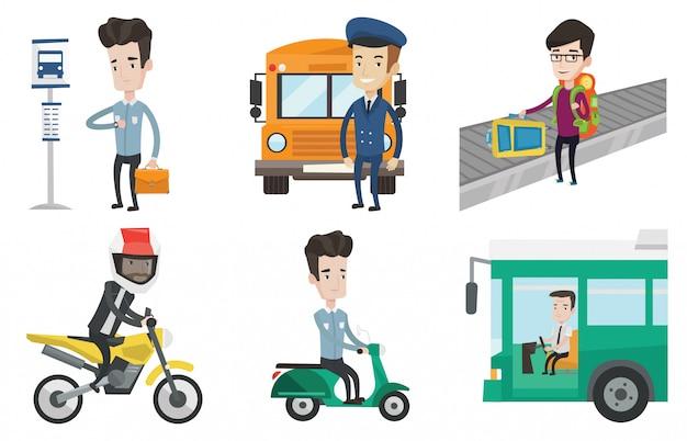 Vettore di trasporto impostato con persone che viaggiano. Vettore Premium