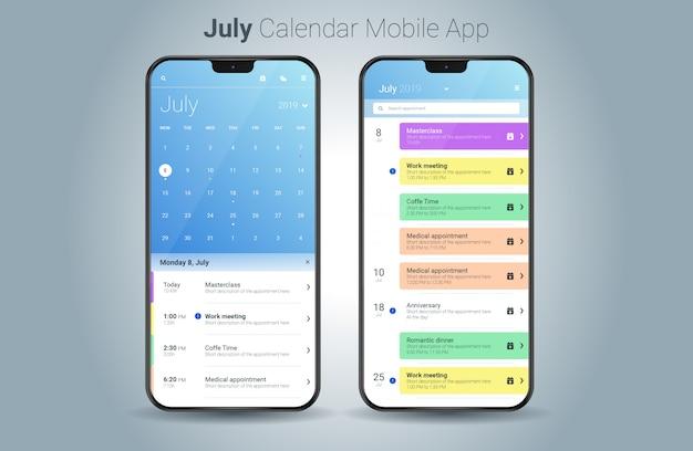 Vettore di ui della luce di applicazione mobile del calendario di luglio Vettore Premium