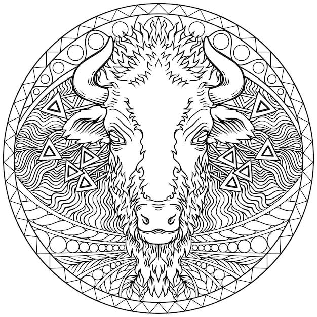Vettore di un disegno di testa di bufalo. animali selvaggi Vettore Premium