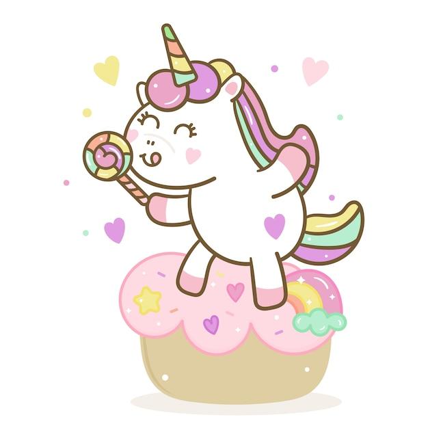 Vettore di unicorno carino con caramelle e torta Vettore Premium