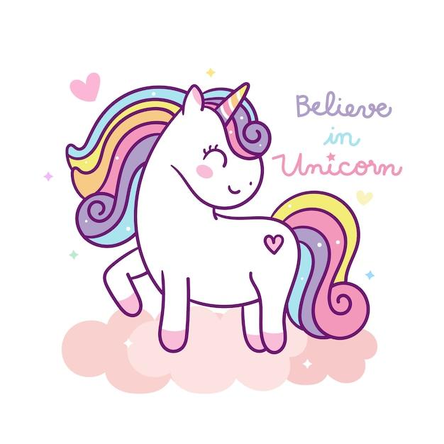 Vettore di unicorno carino su nuvola pastello Vettore Premium
