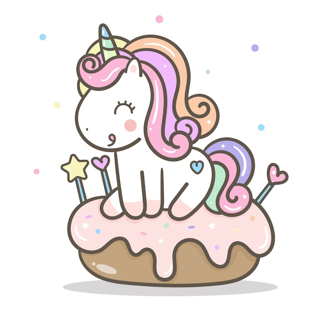Vettore di unicorno kawaii con torta Vettore Premium