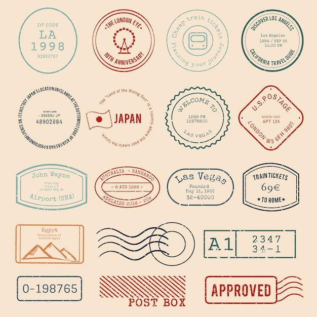 Vettore di vari design di francobolli Vettore gratuito