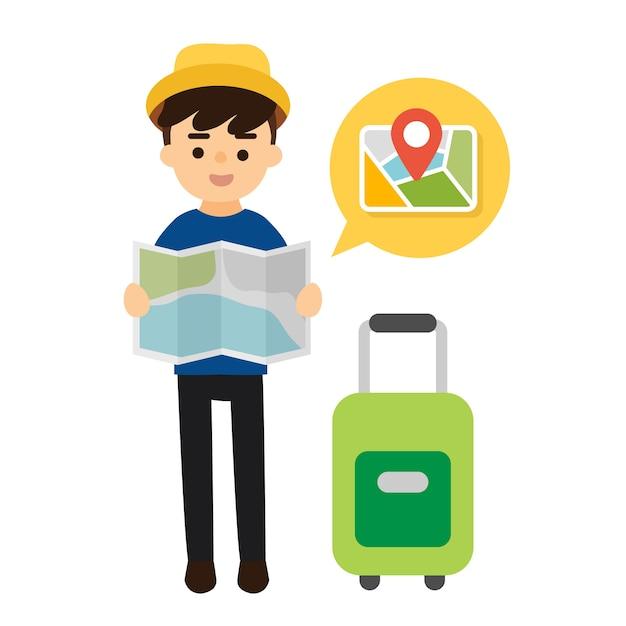 Vettore di viaggio turistico Vettore Premium