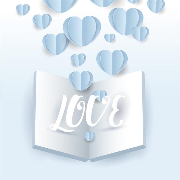 Vettore di volo di carta di cuori di san valentino con libro aperto e lettera d'amore su sfondo blu, cartolina d'auguri Vettore Premium