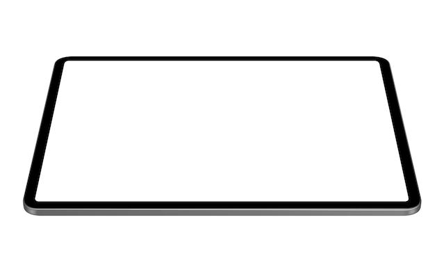Vettore digitale della compressa che disegna prospettiva orizzontale Vettore Premium