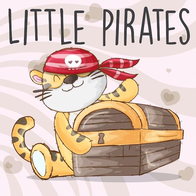 Vettore disegnato a mano animale dei pirati della tigre del bambino Vettore Premium