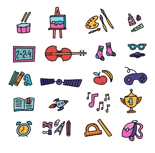 Vettore disegnato a mano delle icone di istruzione icone della scuola. di nuovo a scuola. set di icone di colore doodle disegnato a mano Vettore Premium