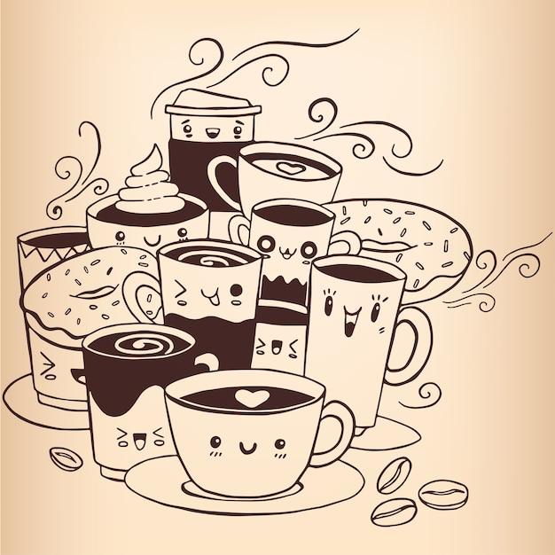 Vettore disegnato a mano di schizzo di doodle del caffè. Vettore Premium