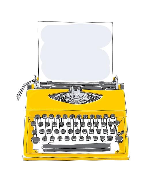 Vettore disegnato a mano vecchio giallo macchina da scrivere Vettore Premium