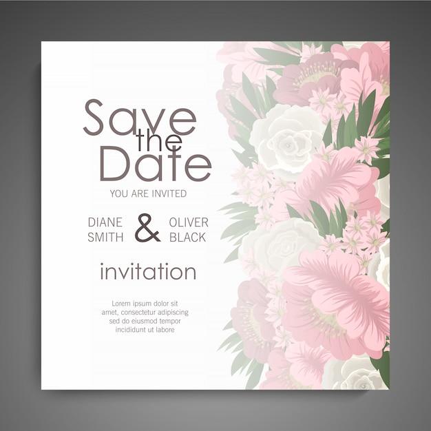 Vettore elegante della carta dell'invito di nozze floreali dell'invito Vettore gratuito
