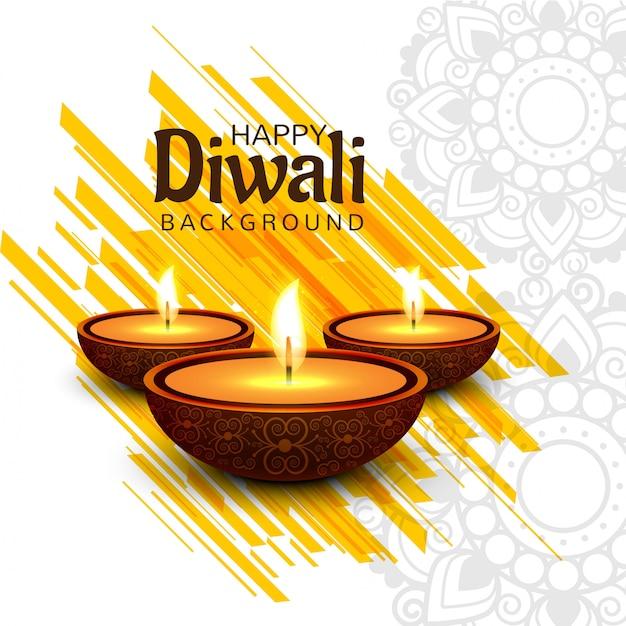 Vettore felice astratto del fondo della carta di festival di diwali Vettore gratuito