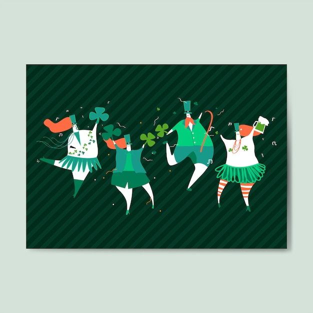 Vettore felice della cartolina d'auguri del giorno di st patrick Vettore gratuito