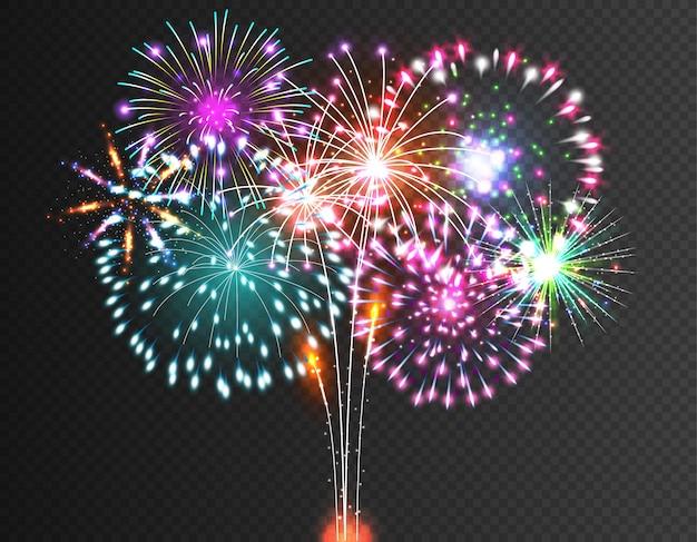 Vettore festivo di fuochi d'artificio Vettore Premium