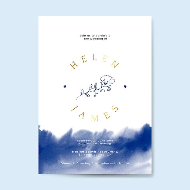 Vettore floreale di progettazione di carta dell'invito di nozze Vettore gratuito