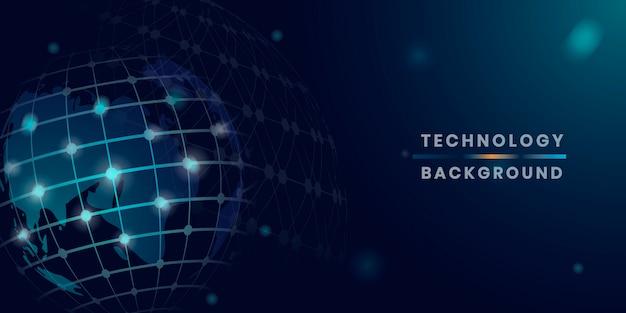 Vettore futuristico della priorità bassa di tecnologia del globo blu Vettore gratuito