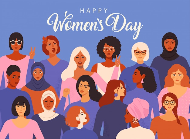 Vettore grafico del giorno delle donne internazionali. Vettore Premium