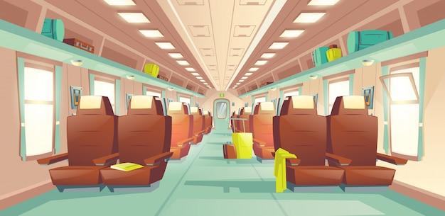 Vettore interno del fumetto del vagone del treno passeggeri Vettore gratuito