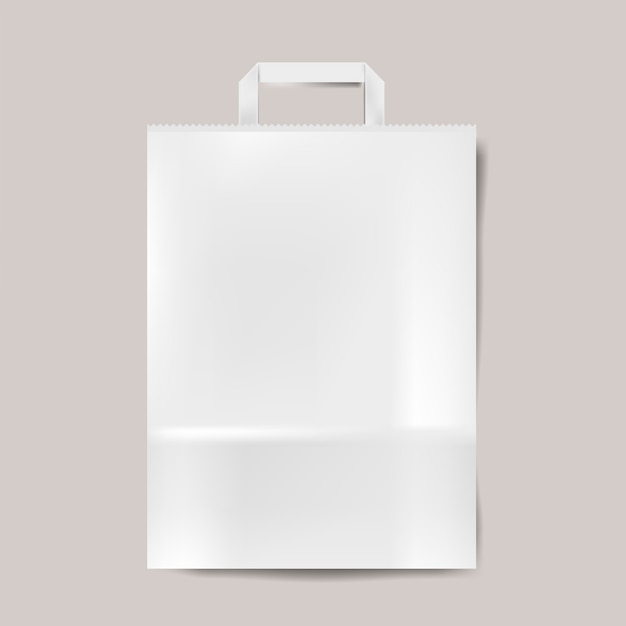 Vettore isolato modello del sacco di carta Vettore gratuito
