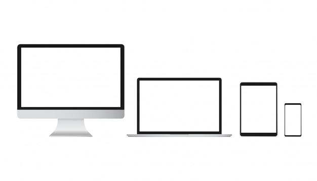 Vettore isolato portatile. vettore di illustrazione di gadget. computer moderno, laptop, smartphone Vettore Premium