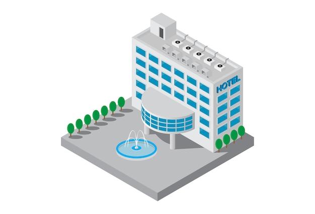 Vettore isometrico della costruzione dell'hotel delle stelle cinque Vettore Premium