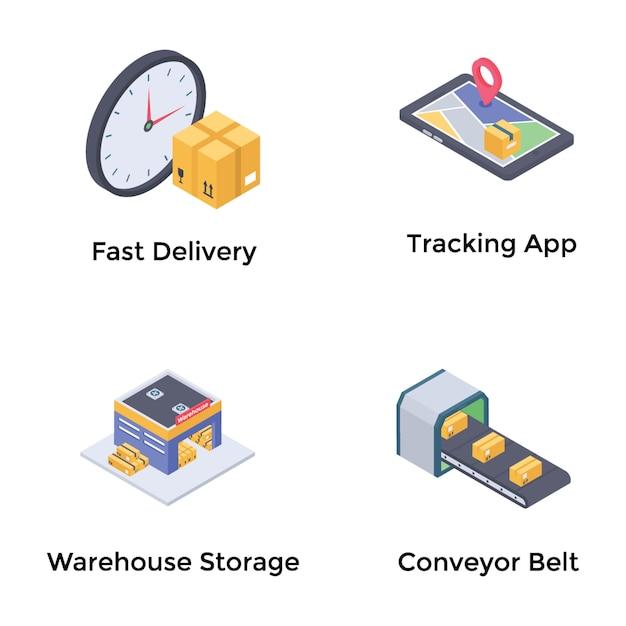 Vettore isometrico di logistica Vettore Premium