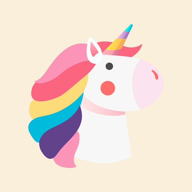 Vettore magico dell'illustrazione dell'unicorno dell'arcobaleno Vettore gratuito