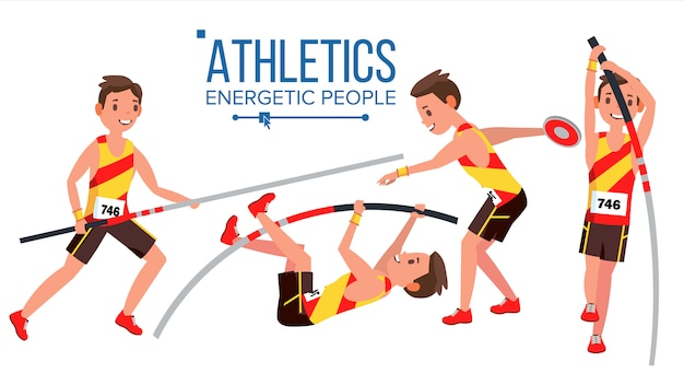 Vettore maschio del giocatore di atletismo. competizione sportiva atletica. attrezzatura sportiva. velocista. inizio sprint. personaggio dei cartoni animati piatto isolato Vettore Premium