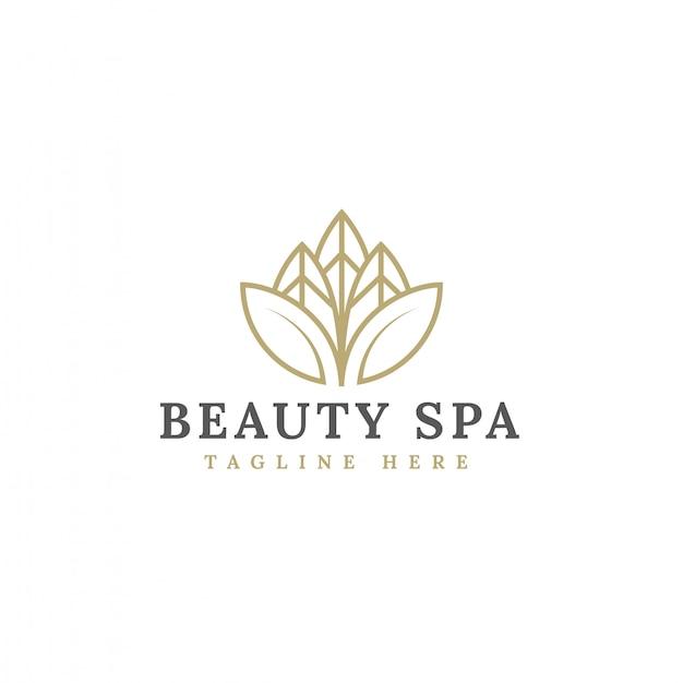 Vettore minimalista di progettazione di logo del fiore di bellezza Vettore Premium