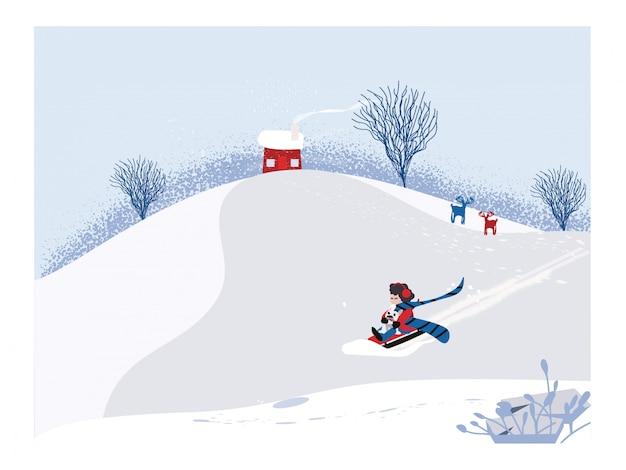 Vettore minimalista sveglio della stagione invernale. scena del paesaggio invernale di nowey con il bambino felice che guida sulla slitta con il cane. l'ombra del pino e del pupazzo di neve ha messo sulla neve bianca e sulla foresta decidua. Vettore Premium