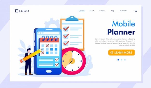 Vettore mobile dell'illustrazione del sito web della pagina di destinazione del pianificatore Vettore Premium