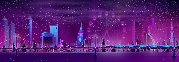 Vettore moderno del fumetto del paesaggio di notte della metropoli Vettore gratuito