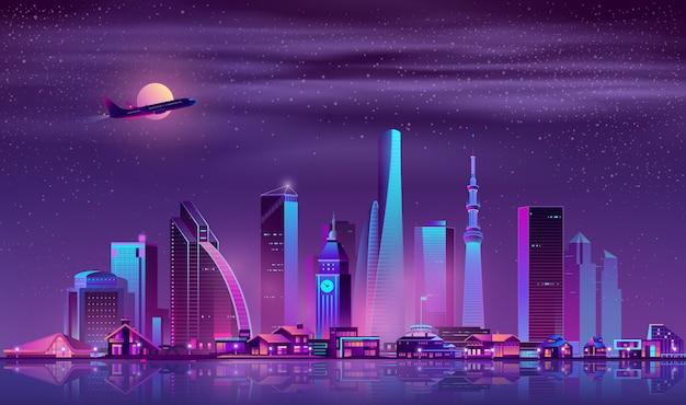 Vettore moderno del fumetto di paesaggio urbano di notte della metropoli Vettore gratuito