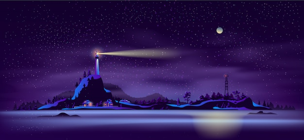 Vettore nordico del fumetto del paesaggio di notte della spiaggia Vettore gratuito