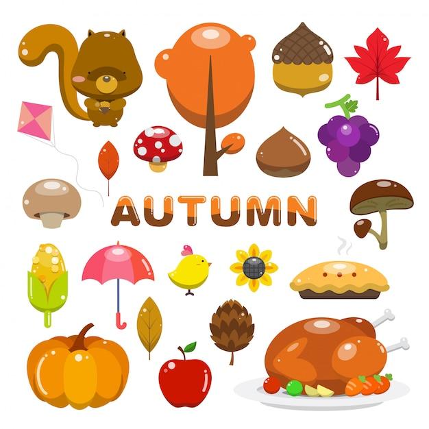 Vettore oggetto d'autunno. illustrazione carino per l'autunno. Vettore Premium