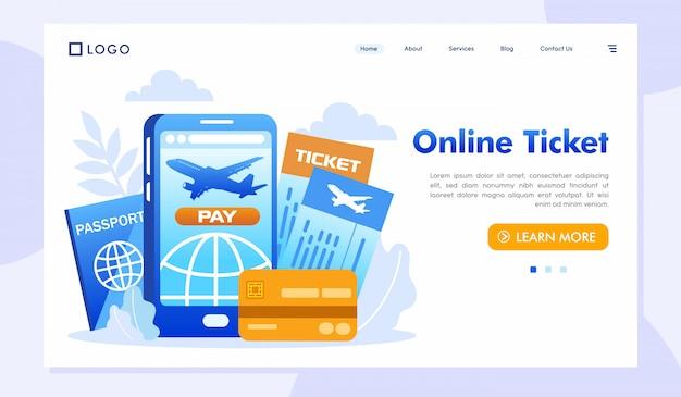 Vettore online dell'illustrazione del sito web della pagina di destinazione del biglietto Vettore Premium